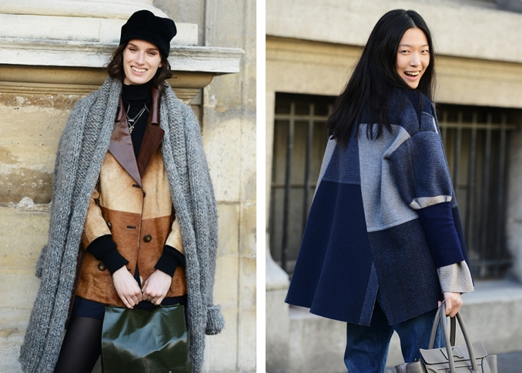 street-style-fall-winter-2014-2015-paris-fashion-week-jacket-coar-patched-colorblock-blue-leather-brown