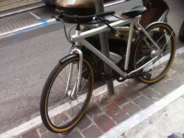 a vanmoof bike in the street of athens