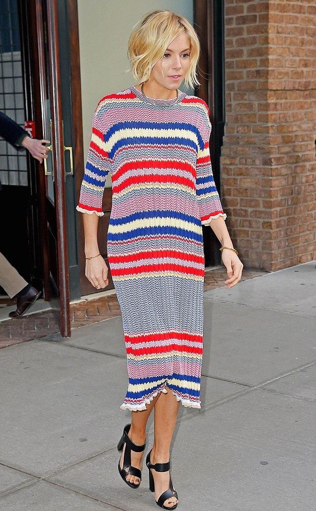 98-Sienna-Millers-jimmy-Fallon-Show-Céline-Resort-2015-Striped-Red-White-Blue-Sweater-Dress