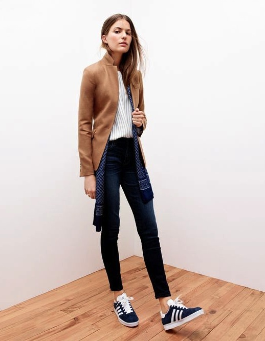 Le-Fashion-Blog-Camel-Blazer-Pinstripe-Top-Silk-Scarf-Skinny-Jeans-Adidas-Sneakers-Via-JCrew